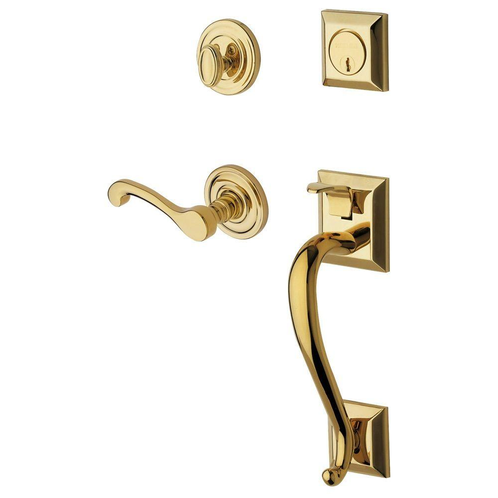 Baldwin Estate Collection Madison Single Cylinder Polished Brass  Right Handed Door Handleset With Wave Lever