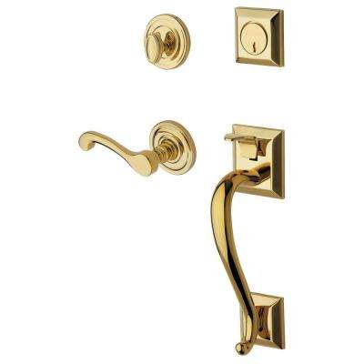 Estate Collection Madison Single Cylinder Polished Brass Right-Handed Handleset with Wave Lever
