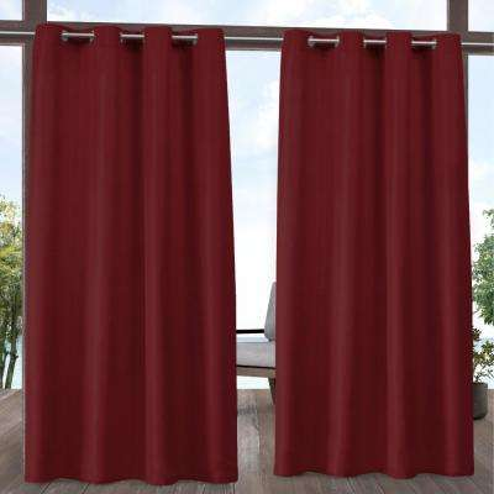 Indoor Outdoor Solid 54 in. W x 84 in. L Grommet Top Curtain Panel in Radiant Red (2 Panels)