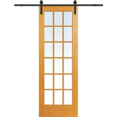 36 in. x 96 in. Clear True Divided 18-Lite Unfinished Pine Single Sliding Barn Door with Wood Hardware Kit