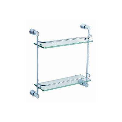 Magnifico 21 in. W 2-Tier Glass Shelf in Chrome