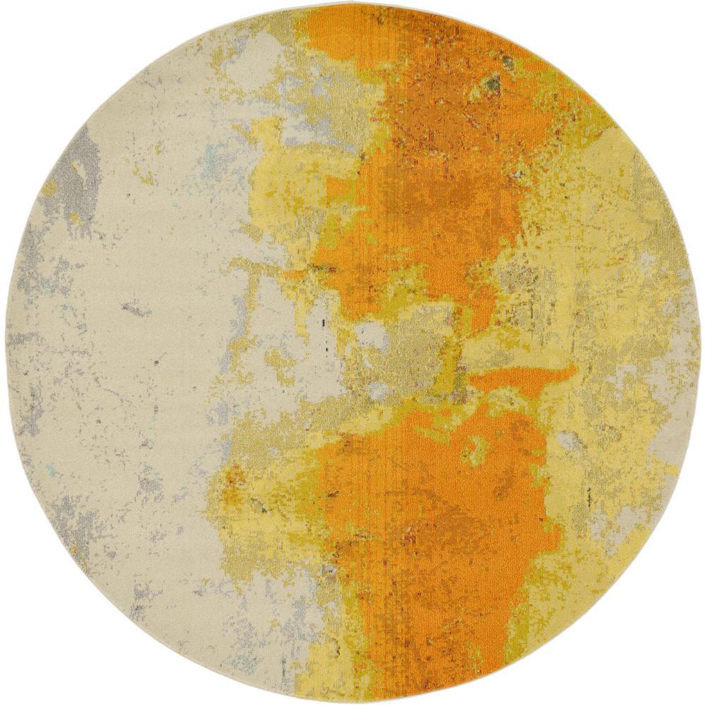 Estrella Rustic Yellow 8' 0 x 8' 0 Round Rug