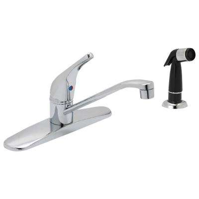 Prestige Collection Single-Handle Standard Kitchen Faucet with Side Sprayer in Chrome