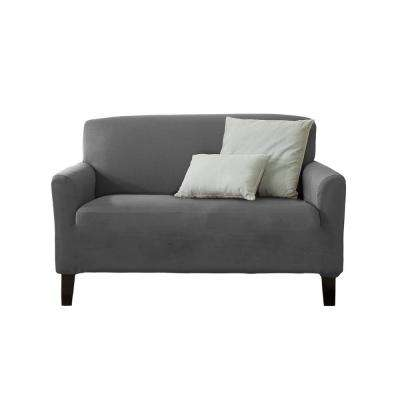 Dawson Collection Grey Twill Form Fit Loveseat Slipcover