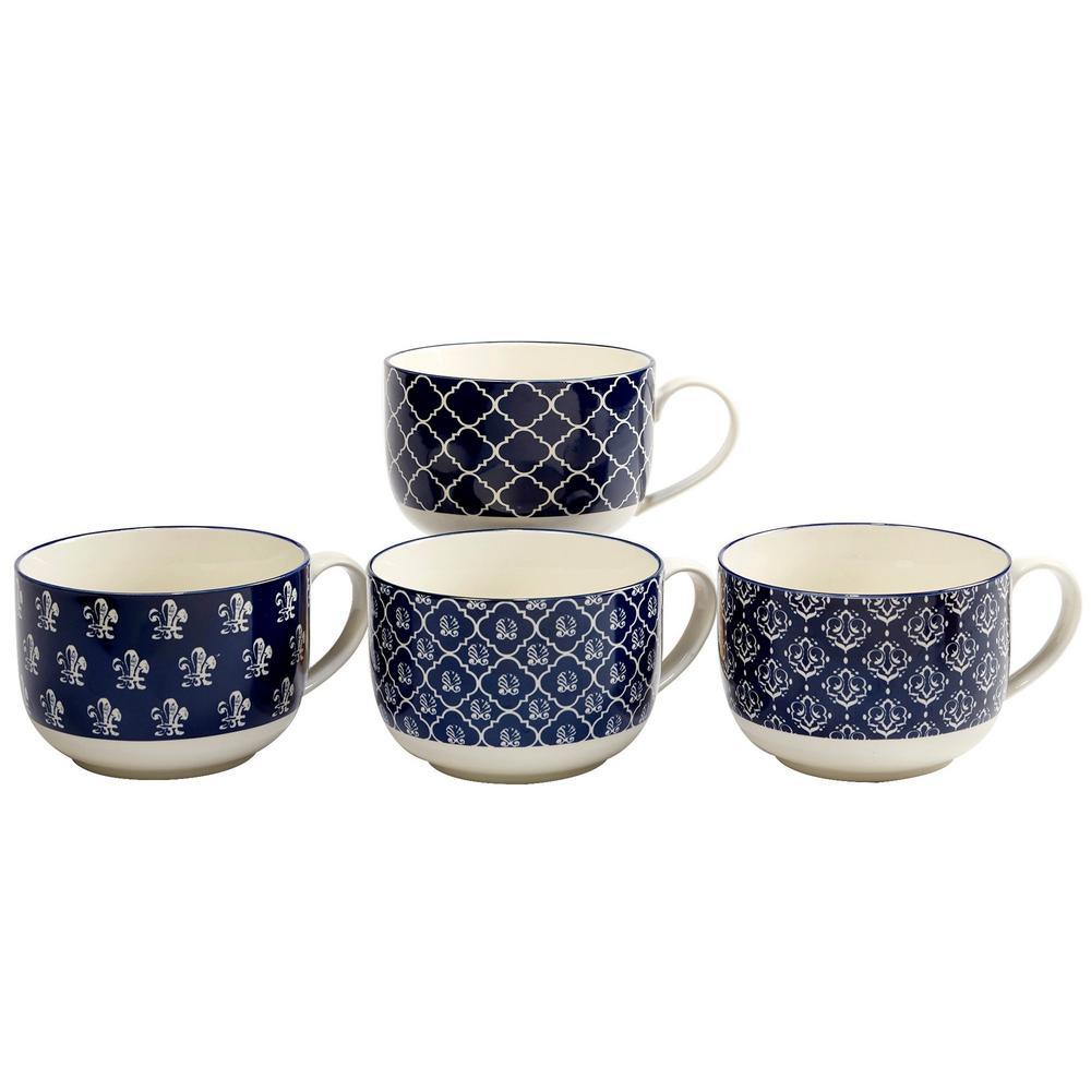 Blue Indigo 32 oz. Blue Ceramic Jumbo Cups (Set of 4)