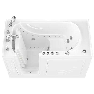 HD Series 60 in. Left Drain Quick Fill Walk-In Whirlpool and Air Bath Tub with Powered Fast Drain in White