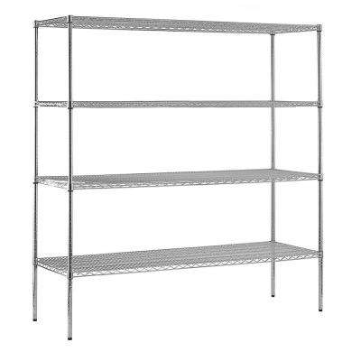 86 in. H x 72 in. W x 12 in. D 4-Shelf Steel Shelving Unit in Chrome