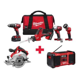 Milwaukee M18 18-Volt Lithium-Ion Cordless Combo Kit (4-Tool) with Free M18 Circ Saw and M18 Radio by Milwaukee