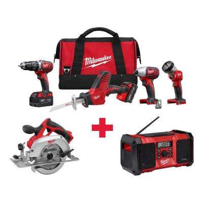 M18 18-Volt Lithium-Ion Cordless Combo Kit (4-Tool) with Free M18 Circ Saw and M18 Radio