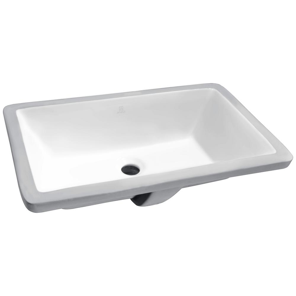 ANZZI Rhodes Series 7 in. Ceramic Undermount Sink Basin in White-LS ...