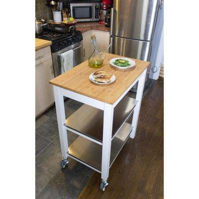 Ultimate White Kitchen Cart With Chopping Block