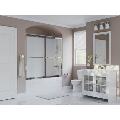 Paragon 56 in. to 57.5 in. x 58 in. Framed Sliding Tub Door with Towel Bar in Chrome and Obscure Glass