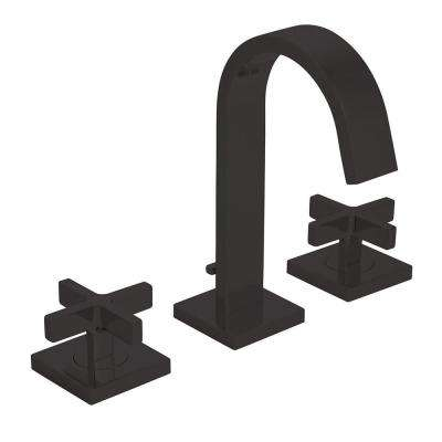 Lura 8 in. Widespread 2-Handle Bathroom Faucet with Cross Handles and Pop-Up Drain Assembly in Matte Black