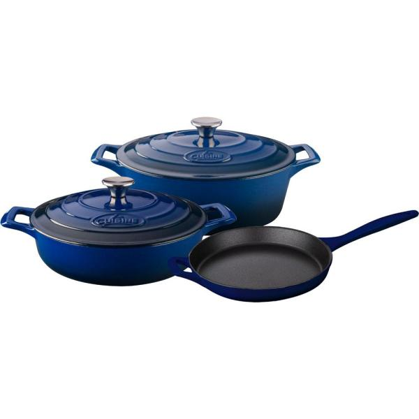 La Cuisine 5-Piece Enameled Cast Iron Cookware Set with Saute, Skillet and Oval Casserole in Blue