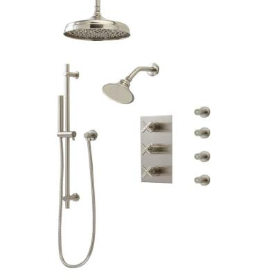 1-Spray Patterns with 1.8 GPM 8 in. Wall Mount Dual Shower Heads, Hand Shower and 4 Body Sprays in Brushed Nickel