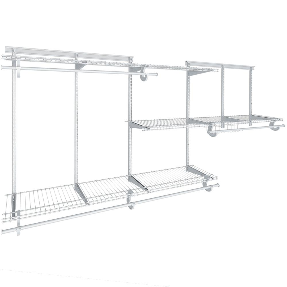 closetmaid shelftrack 12 in  d x 96 in  w x 84 in  h white wire reach in closet kit with basket