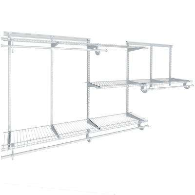 Shelftrack 13 in. D x 96 in. W x 84 in. H White Fixed Wall Mount Wire Reach In Closet System