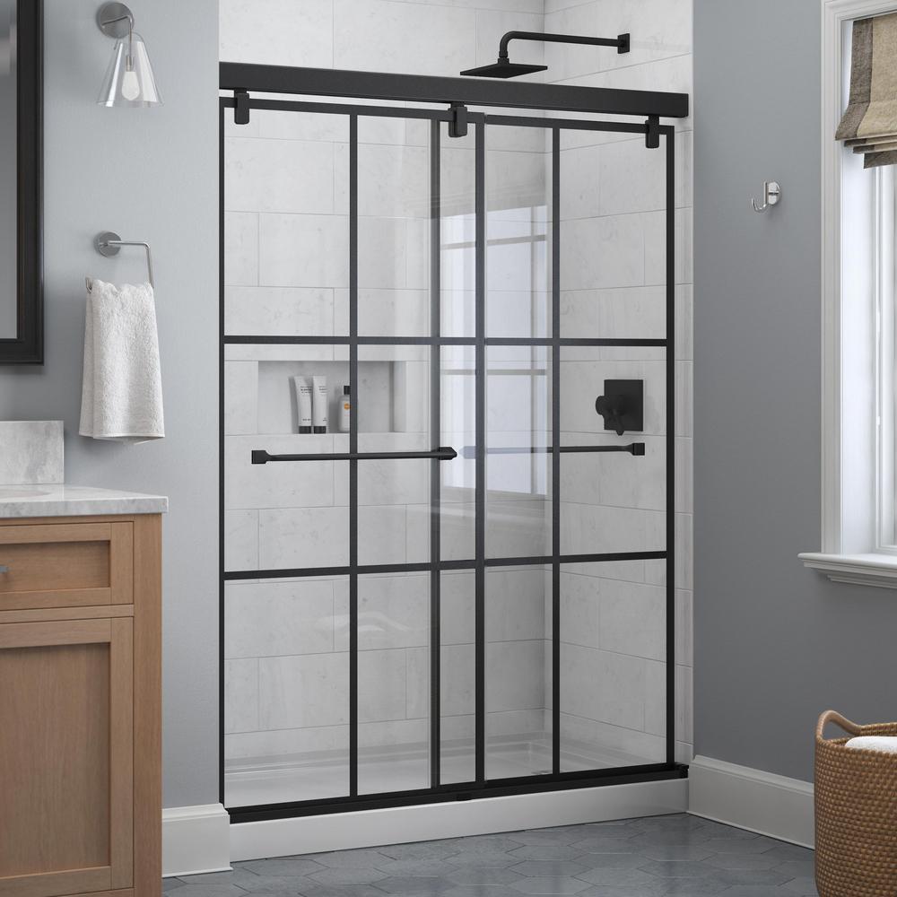 Everly 60 in. x 71-1/2 in. Frameless Mod Soft-Close Sliding Shower Door in Matte Black with 1/4 in. (6 mm) Ingot Glass