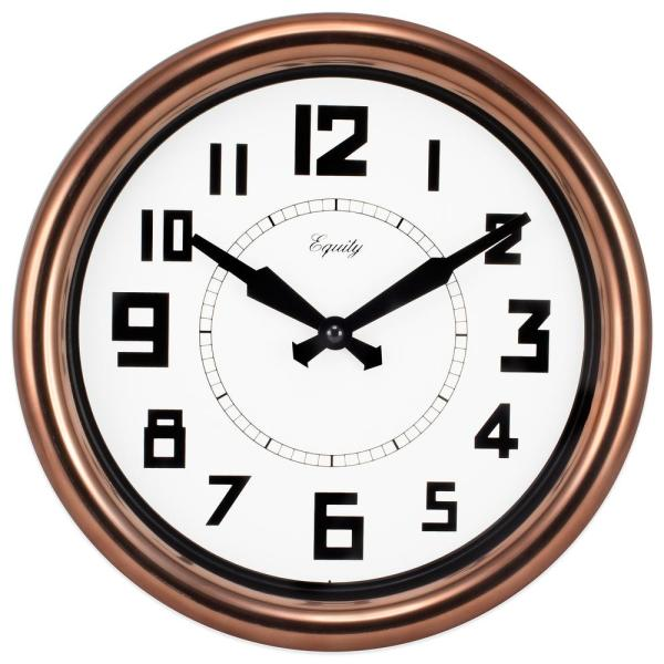 Equity by La Crosse 12 in. Round Copper Analog Wall Clock