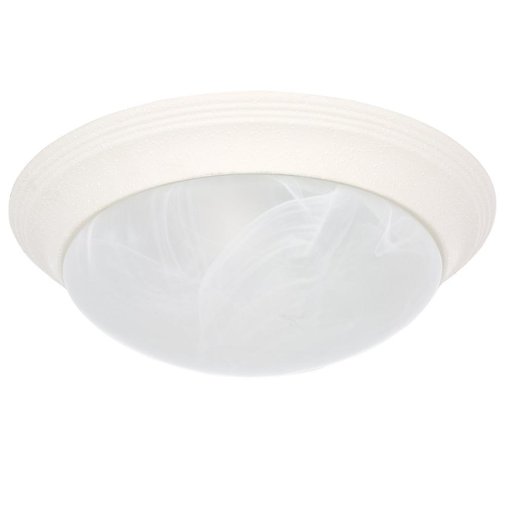 Alabaster Glass Collection 2-Light White Flushmount