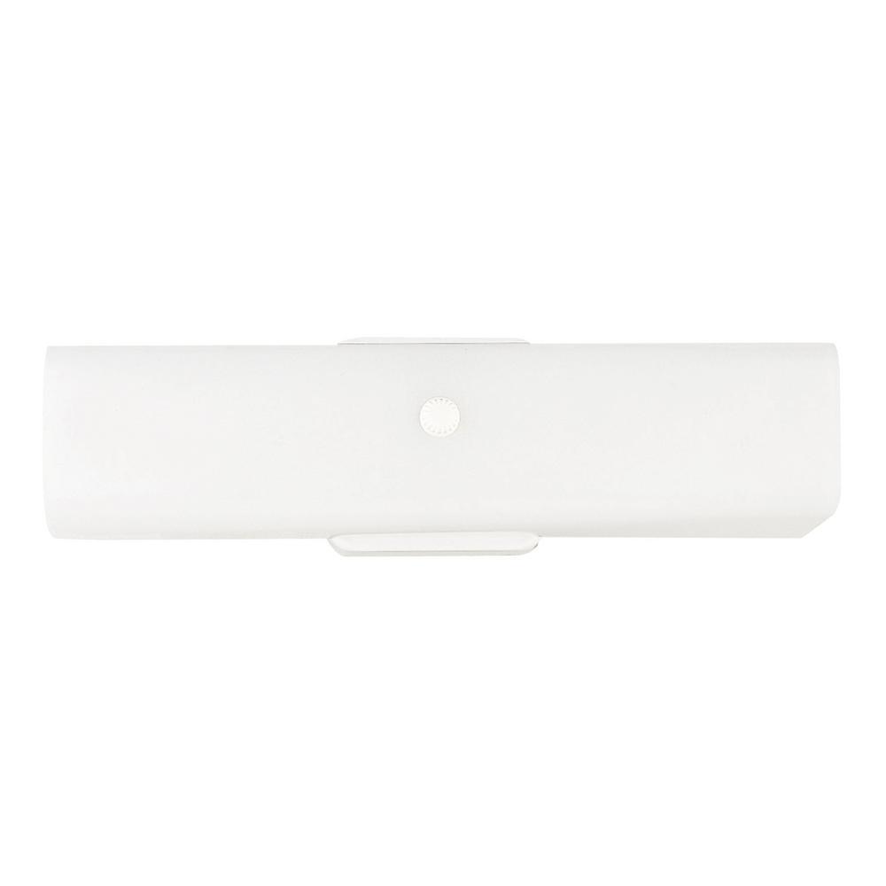 Bent Glass 2-Light White Bath Light with LED Bulbs