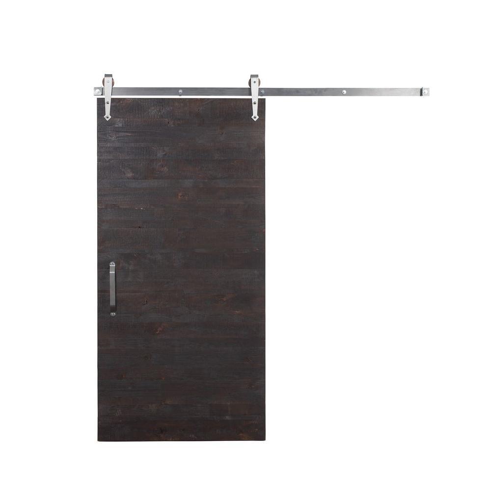 42 in. x 84 in. Rustica Reclaimed Stain, Glaze, Clear Wood Barn Door with Arrow Sliding Door Hardware Kit