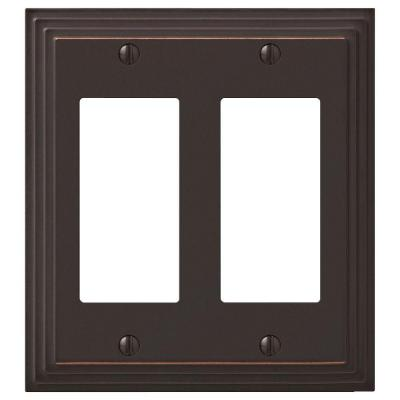 Tiered 2 Gang Rocker Metal Wall Plate - Aged Bronze