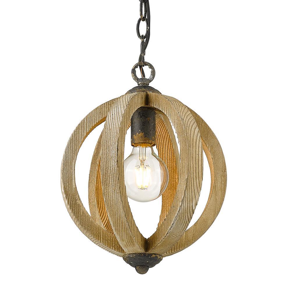 Naima 1-Light Antique Black Iron Globe Pendant