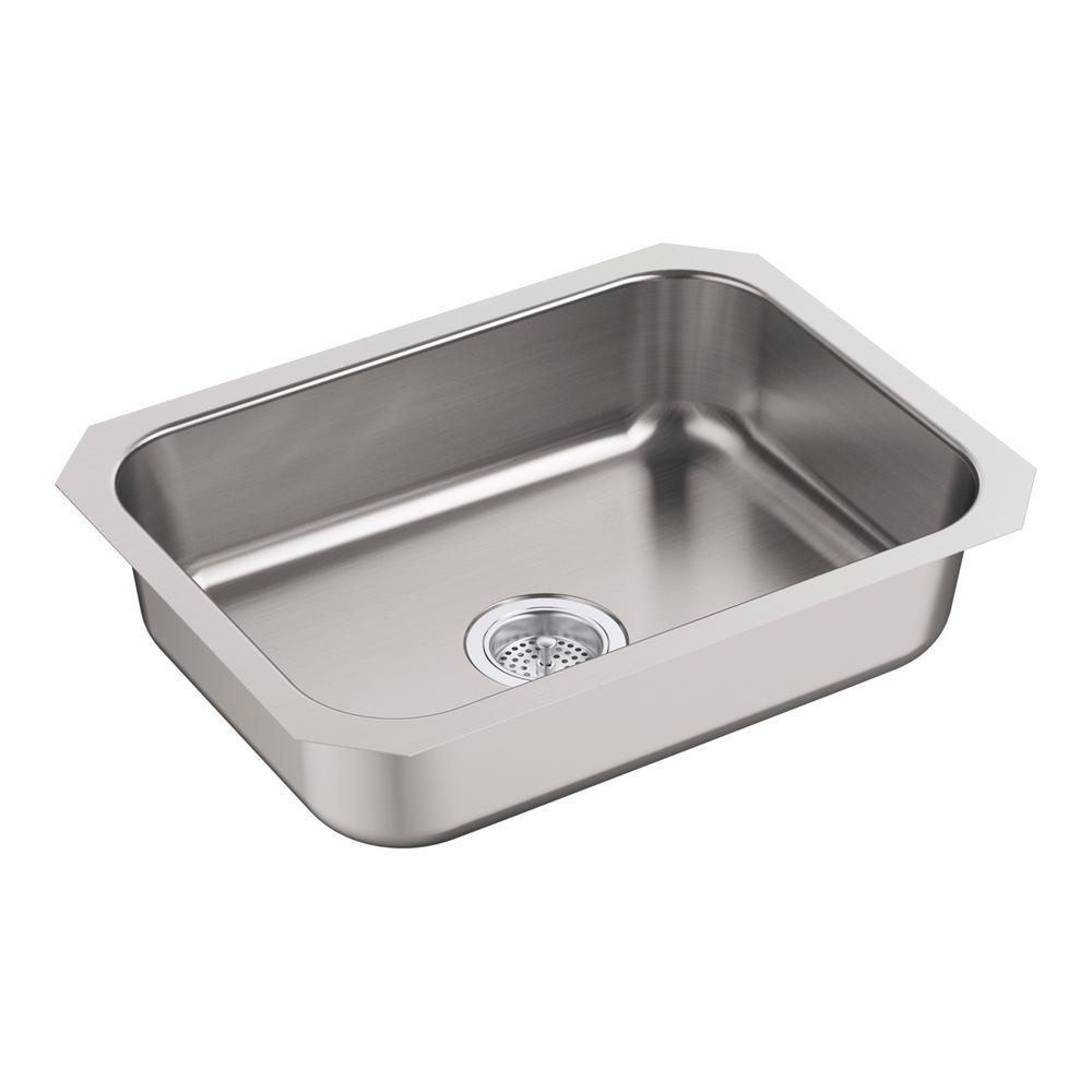 McAllister Undermount Stainless Steel 24 in. Single Basin Kitchen Sink