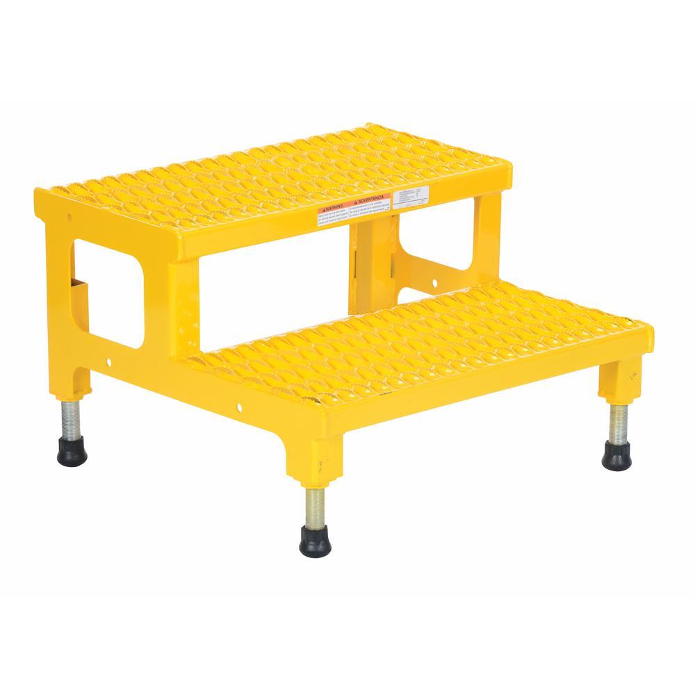 Vestil 24 inch x 23 inch 2-Step Adjustable Steel Step Stand by Vestil