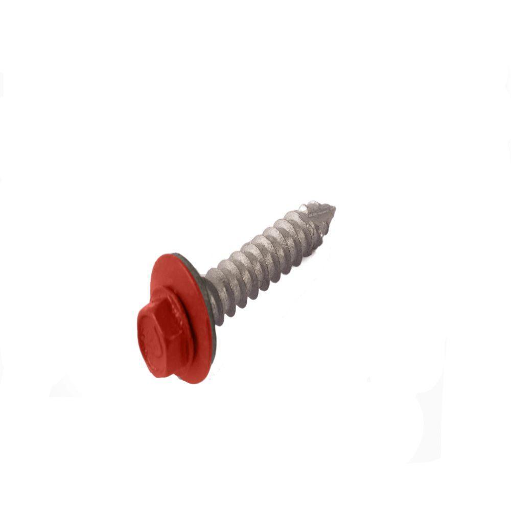 #14 1-1/2 in. External Hex Steel Screw in Brick Red (250-Piece