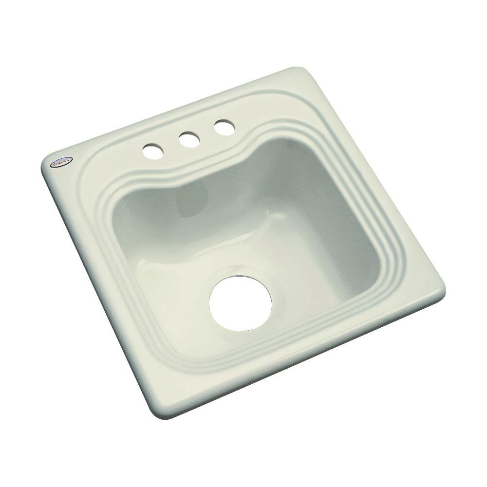 Thermocast Oxford Drop-In Acrylic 16 in. 3-Hole Single Basin Entertainment Sink in Jersey Cream