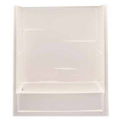 Everyday 60 in. x 30 in. x 72 in. Left Drain 1-Piece Bath and Shower Kit in Biscuit