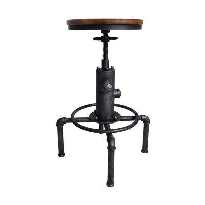 Tristan Industrial Backless 25-29 in. Silver Brushed Gray Adjustable Barstool and Rustic Ash Wood Seat