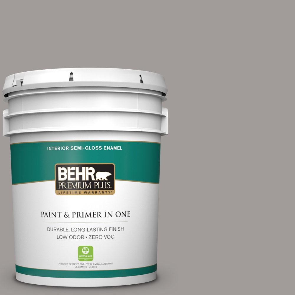 5-gal. #BNC-17 Casual Gray Semi-Gloss Enamel Interior Paint