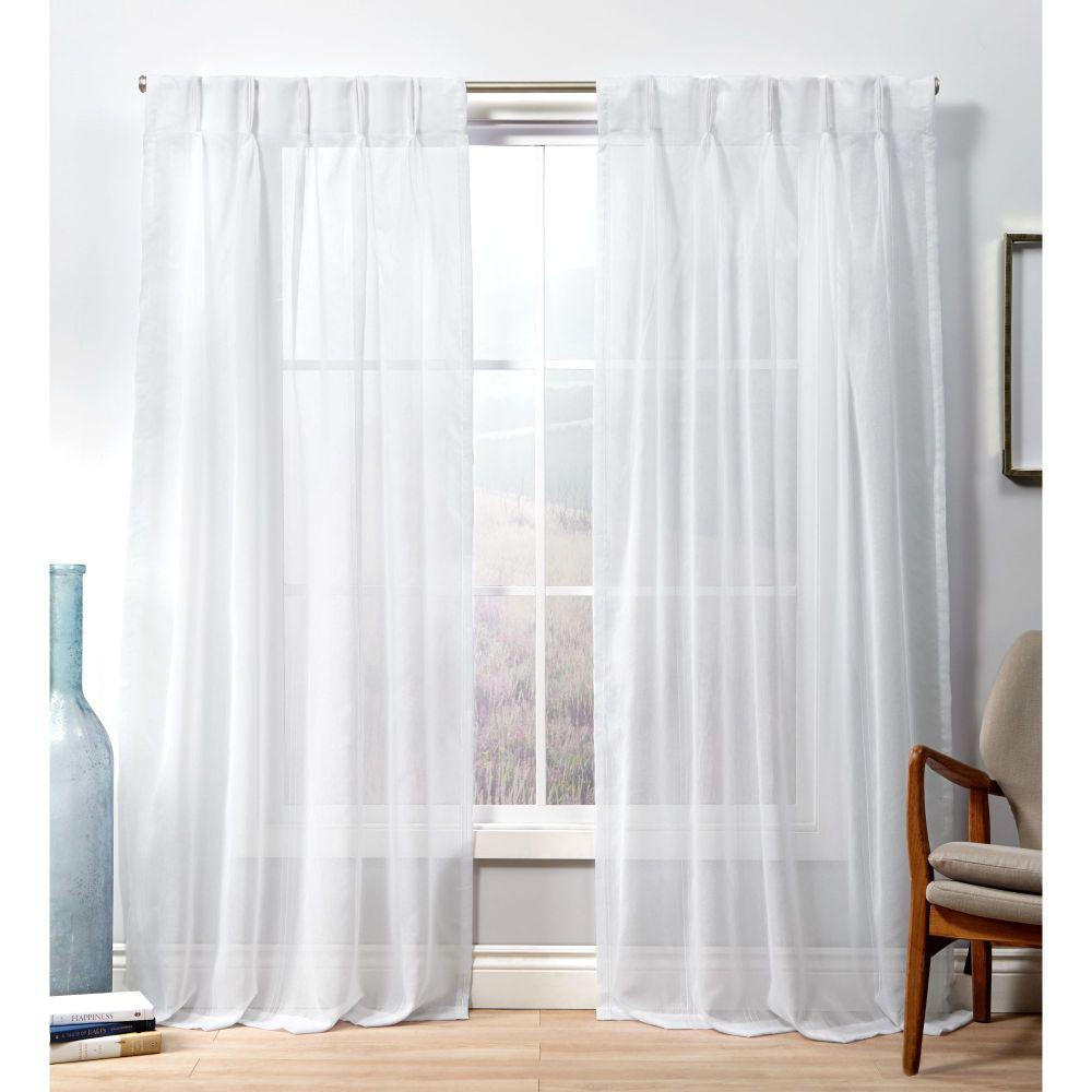 Exclusive Home Curtains Penny Pp Winter White Sheer Triple Pinch Pleat Top Curtain Panel 27 In W X 84 In L 2 Panel Eh8419 01 2 84p The Home Depot