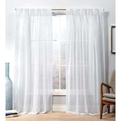 Penny PP Winter White Sheer Triple Pinch Pleat Top Curtain Panel - 27 in. W x 84 in. L (2-Panel)