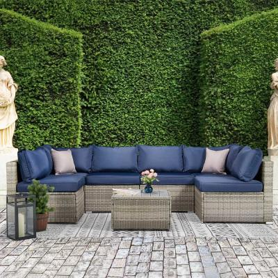 Classic Gray 7-Piece Wicker Sectional Seating Set with Navy Cushions