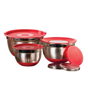 Click here to buy  9-Piece Mixing Bowl Set w/Lids and Grater Red.