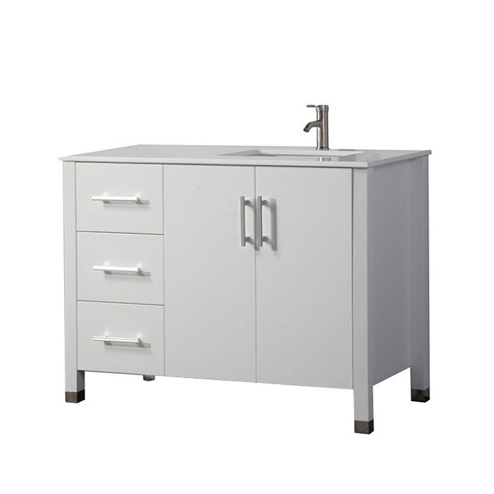 MTD Vanities Moselle 40 in. W x 22 in. D x 36 in. H Right Side Sink Vanity in White with Microstone White Top with White Basin