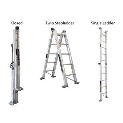 14 ft. Reach Aluminum Fully Compactable Multi-Position Ladder 375 lbs. Load Capacity Type IAA Duty Rating