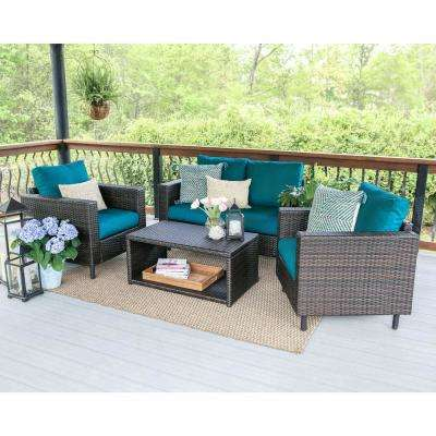 Draper 4-Piece Wicker Patio Conversation Set with Peacock Cushions
