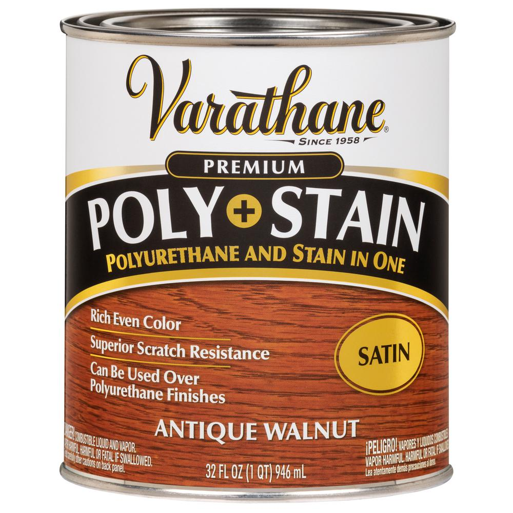 Varathane Varathane 1 qt. Antique Walnut Satin Oil-Based Interior Polyurethane and Stain