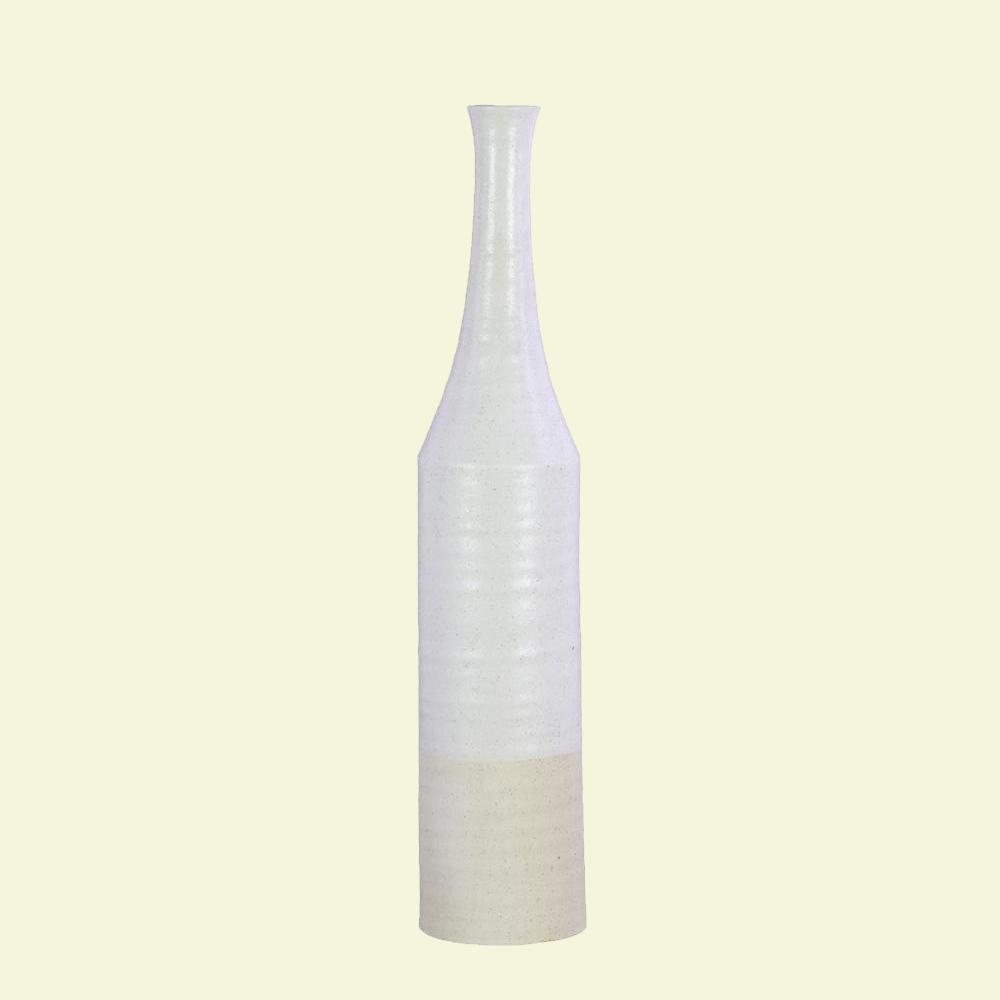 White Coated Finish Ceramic Decorative Vase