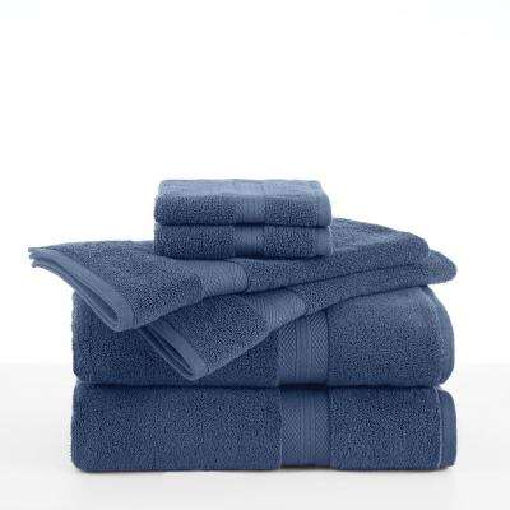 Abundance 6-Piece Cotton Blend Towel Set in Bluemoon