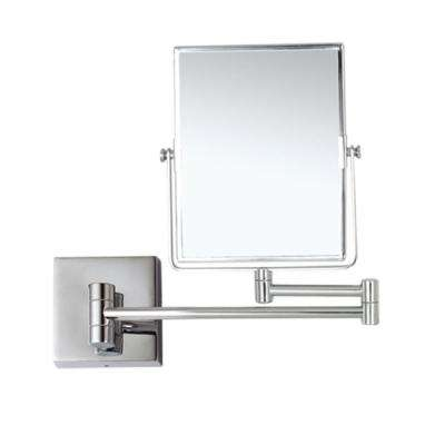 Glimmer 6.3 in. x 8.5 in. Wall Mounted LED 3x Rectangle Makeup Mirror in Chrome Finish