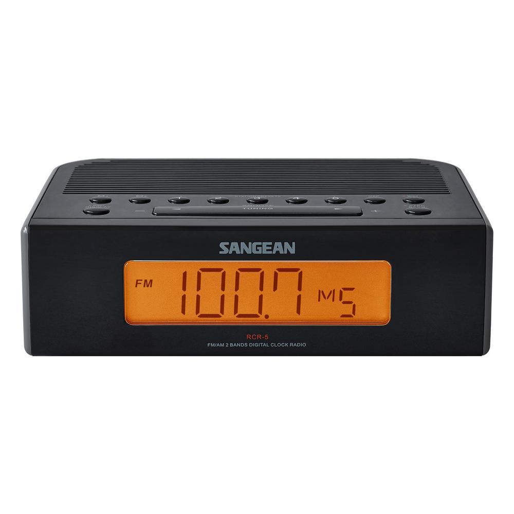 Sangean FM/AM Digital Tuning Alarm Clock Radio (Black) by Sangean