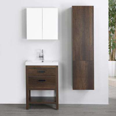 23.6 in. W x 32.4 in. H Bath Vanity in Brown with Resin Vanity Top in White with White Basin and Mirror