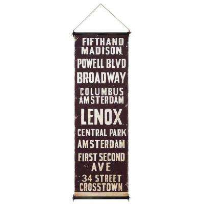 59 in. H x 19.75 in. W Fifth and Madison City Wood and Fabric Wall Banner