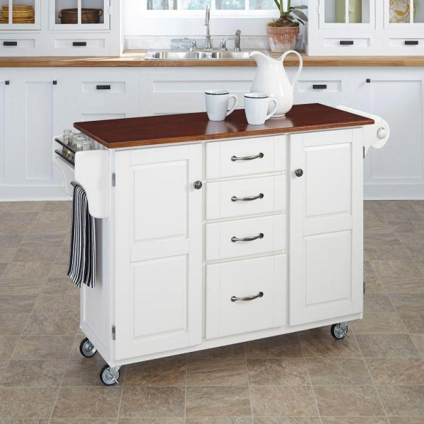Home Styles Create-a-Cart White Kitchen Cart With Towel Bar 9100-1027G